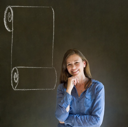 Business woman, student or teacher with menu scroll checklist on  blackboard background photo