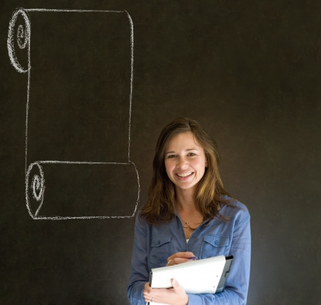 Business woman, student or teacher with menu scroll checklist on  blackboard background Stock Photo - 18870162