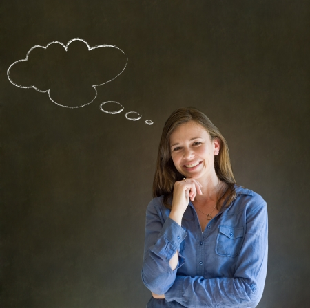 thinks: Business woman, student or teacher with thought thinking chalk cloud on blackboard background