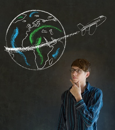 Business man, student or teacher with chalk globe and jet world travel blackboard background photo