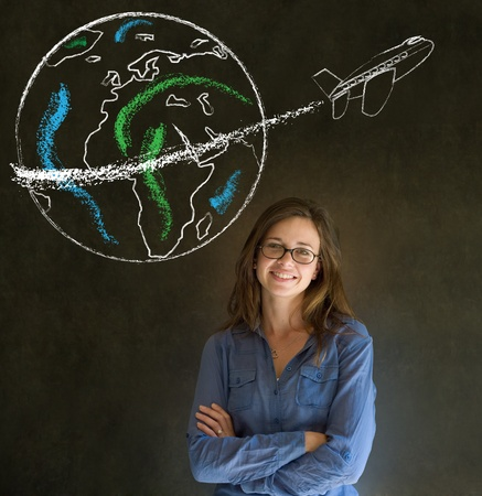 Business woman, student or teacher with chalk globe and jet world travel blackboard background photo