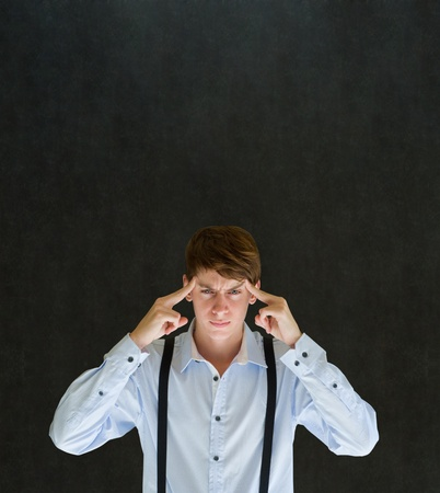 thinks: Business man, student or teacher think or thinking hard with copy space Stock Photo