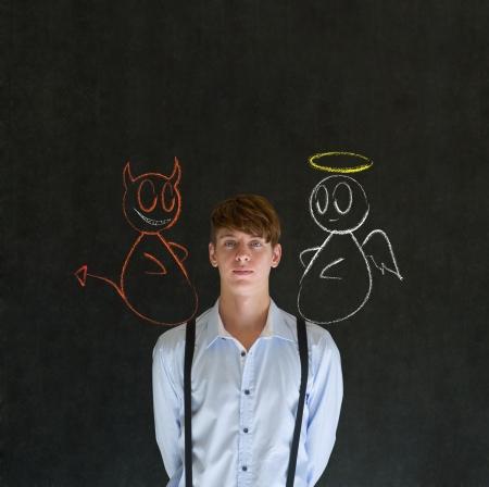 devil angel: Devil and angel on shoulder business man, student or teacher making decision