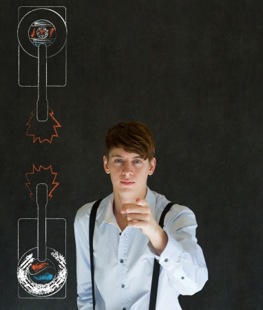 North or South Korea needs you pointing business man, student, teacher or politician with army tanks on blackboard background Stock Photo - 26441538