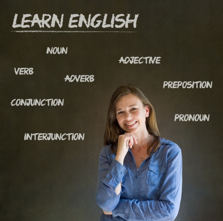 Learn English confident beautiful woman teacher chalk blackboard background Standard-Bild