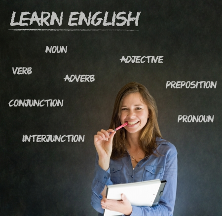 learn english: Learn English confident beautiful woman teacher chalk blackboard background Stock Photo
