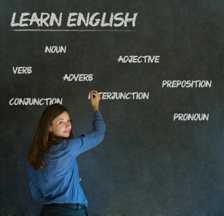 soumis: Apprendre l'anglais confiant belle femme professeur craie tableau noir fond
