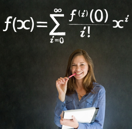 Learn Math or Maths confident beautiful woman teacher chalk blackboard background