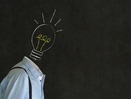 Headless bright idea business man,  teacher or student with chalk background lightbulb head