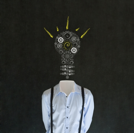 bulk memory: Headless bright idea business man, teacher, engineer or student with chalk background cogs and gears lightbulb head