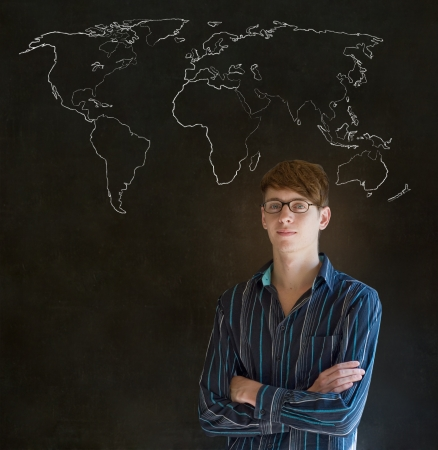 Confident handsome business man, teacher or student with chalk geography world map on blackboard background photo