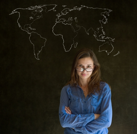 Confident beautiful business woman, teacher or student with chalk geography world map on blackboard background Standard-Bild