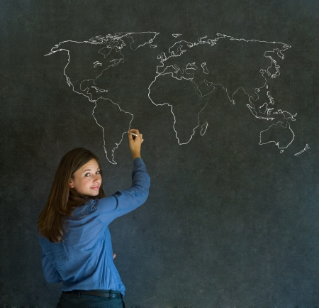 Confident beautiful business woman, teacher or student with chalk geography world map on blackboard background Stock Photo