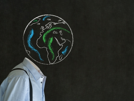 world thinking: Headless business man, teacher or student with world earth globe head