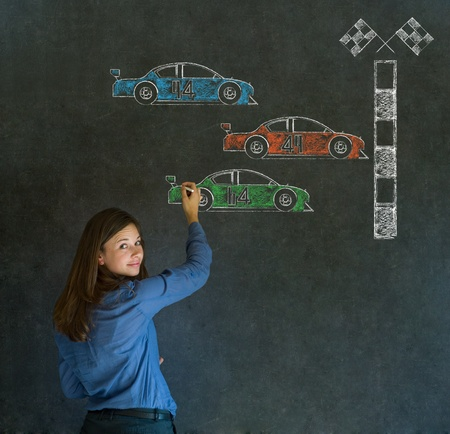 formula one car: Business woman, student or teacher Formula 1 or F1 racing fan cars on blackboard background