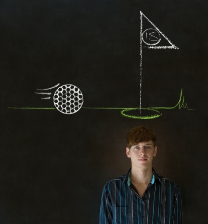Business man, student or teacher with thought thinking of golf chalk cloud on blackboard background photo