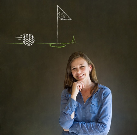 Business woman, student or teacher with thought thinking of golf chalk cloud on blackboard background photo