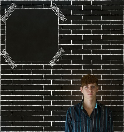Business man, student or teacher with brick wall notice board checklist on  blackboard background Stock Photo - 19286603