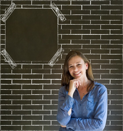thinks: Business woman, student or teacher with brick wall notice board checklist on  blackboard background