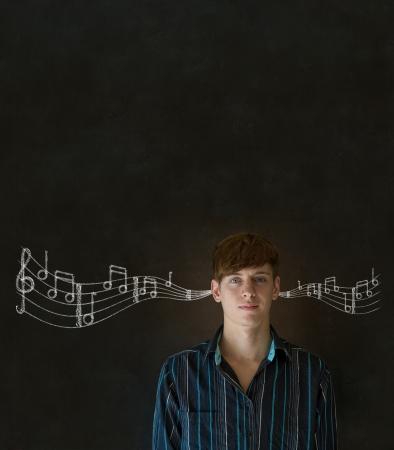 Learn music business man, student or teacher chalk blackboard background