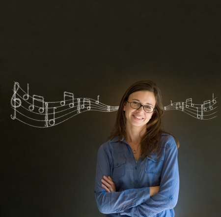 university word: Learn music business woman, student or teacher chalk blackboard background