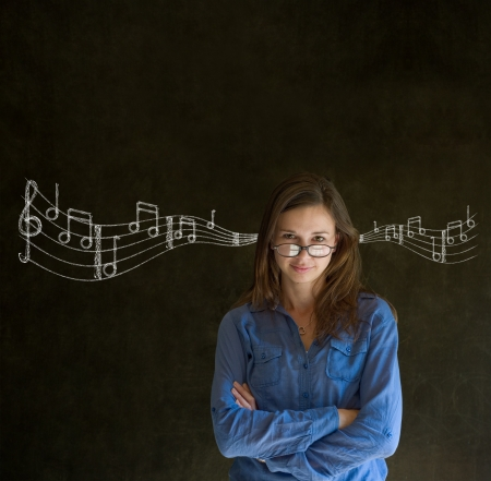 Learn music business woman, student or teacher chalk blackboard background photo