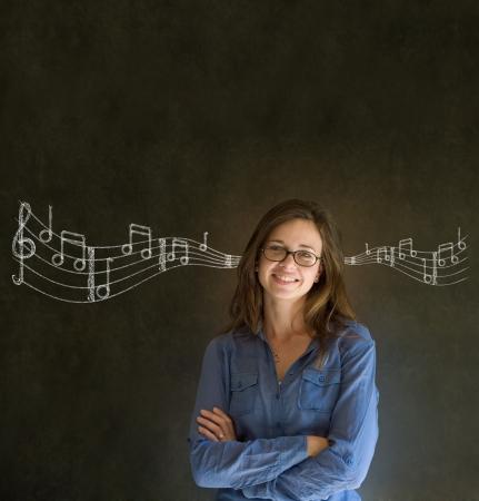 Learn music business woman, student or teacher chalk blackboard background photo
