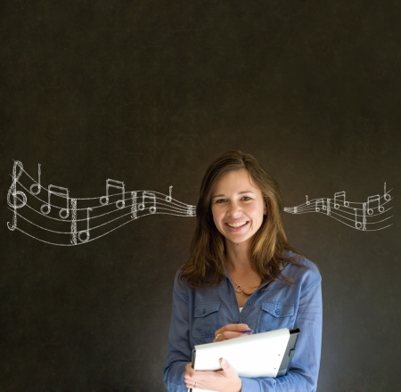 listen music: Learn music business woman, student or teacher chalk blackboard background