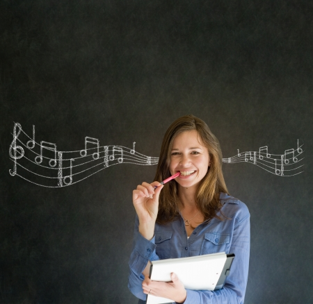 Learn music business woman, student or teacher chalk blackboard background
