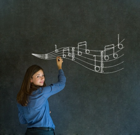 teaching music: Learn music business woman, student or teacher chalk blackboard background