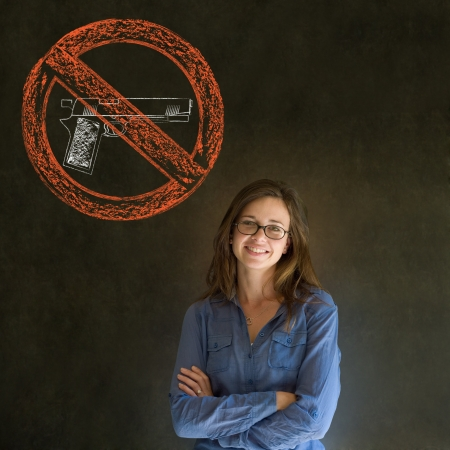 Business woman, student, teacher or politician no guns pacifist thought thinking chalk cloud on blackboard background photo