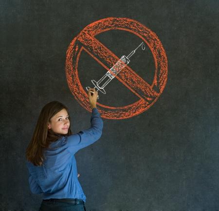 meth: No drugs addict business woman, student or teacher on blackboard background