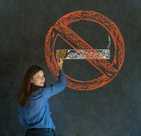 no idea: No smoking tobacco addict business woman, student or teacher on blackboard background