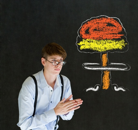 sneaky: Evil sneaky business man, student or teacher with thought thinking chalk nuclear bomb cloud on blackboard background