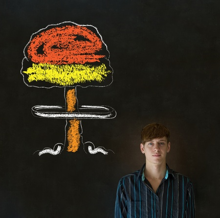 Business man, student, teacher or politician no nuclear bombs war pacifist thought thinking chalk cloud on blackboard background photo