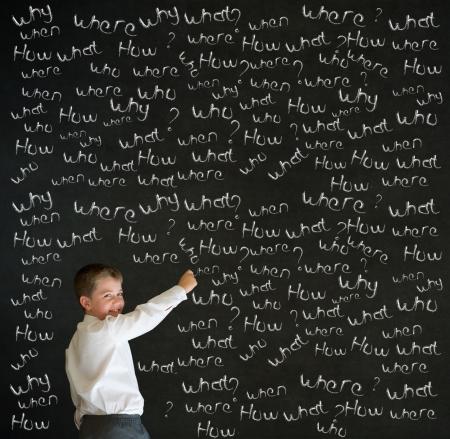 lavagna: Scrivere ragazzo vestito come uomo d'affari con le domande gesso sulla lavagna sfondo