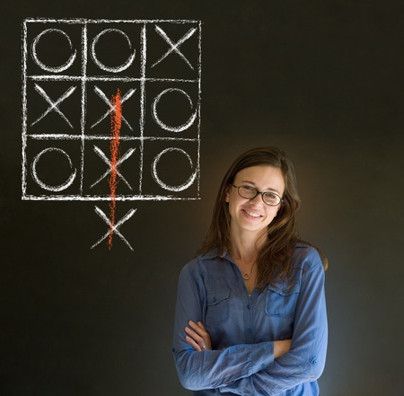 think out of the box: Thinking out of the box businesswoman, student or teacher tic tac toe on blackboard background