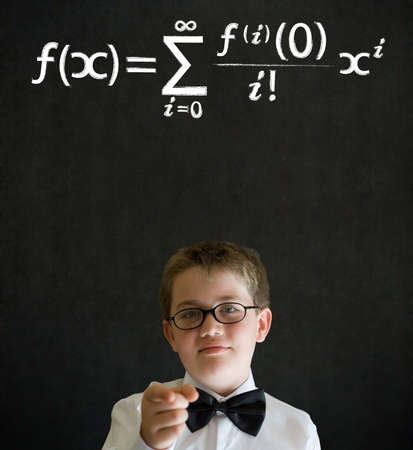 equation: Education needs you thinking boy dressed up as business man with maths equation on blackboard background