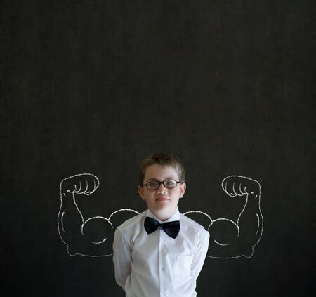bodybuilding boy: Boy businessman, salesman or teacher with chalk healthy strong arm muscles for success