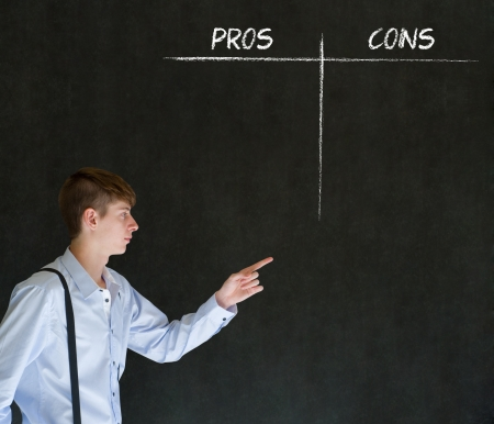 cons: Businessman, student or teacher thinking pros and cons decision list chalk concept blackboard background