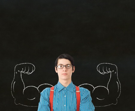 Nerd geek businessman, student or teacher with chalk healthy strong arm muscles for success