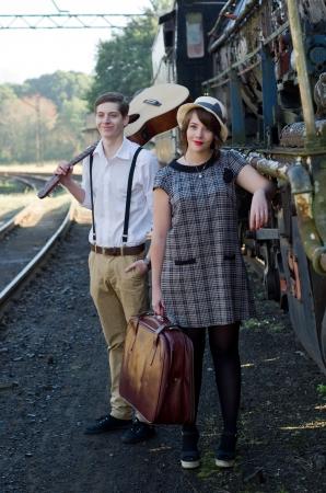 life partner: Retro hip hipster romantic love couple in vintage train setting