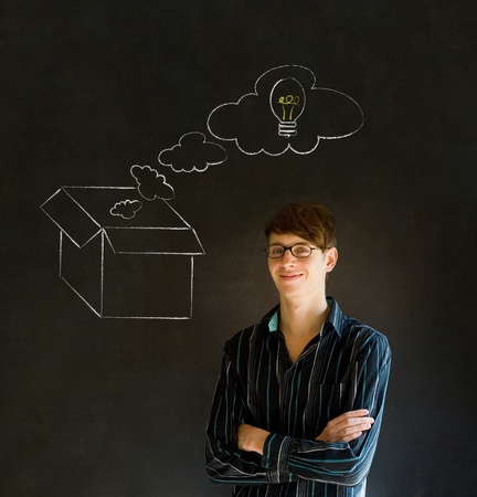 thinking out of the box: Businessman, student or teacher thinking out the box chalk concept blackboard background