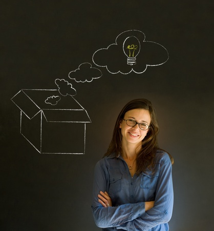 thinking out of the box: Businesswoman, student or teacher thinking out the box chalk concept blackboard background