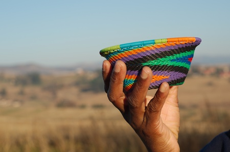 kwazulu natal: Traditional African basket made from recycled cloured colourful wire