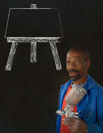 African black man industrial worker with chalk easel on blackboard background Stock Photo - 22841934