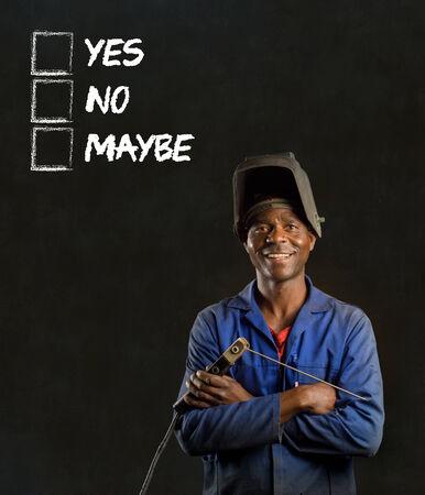 African black man industrial worker with chalk checklist on blackboard background Stock Photo - 22841924