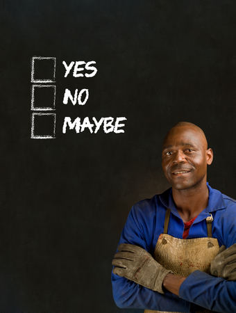 African black man industrial worker with chalk checklist on blackboard background Stock Photo - 22841928