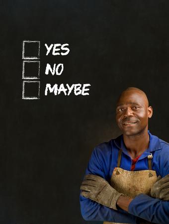 African black man industrial worker with chalk checklist on blackboard background Stock Photo - 22841928