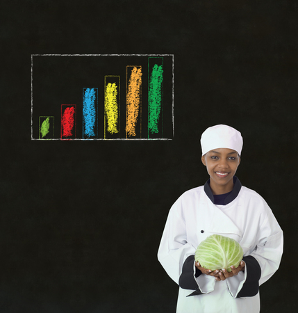 thinks: African or African American woman chef with chalk bar graph on blackboard background